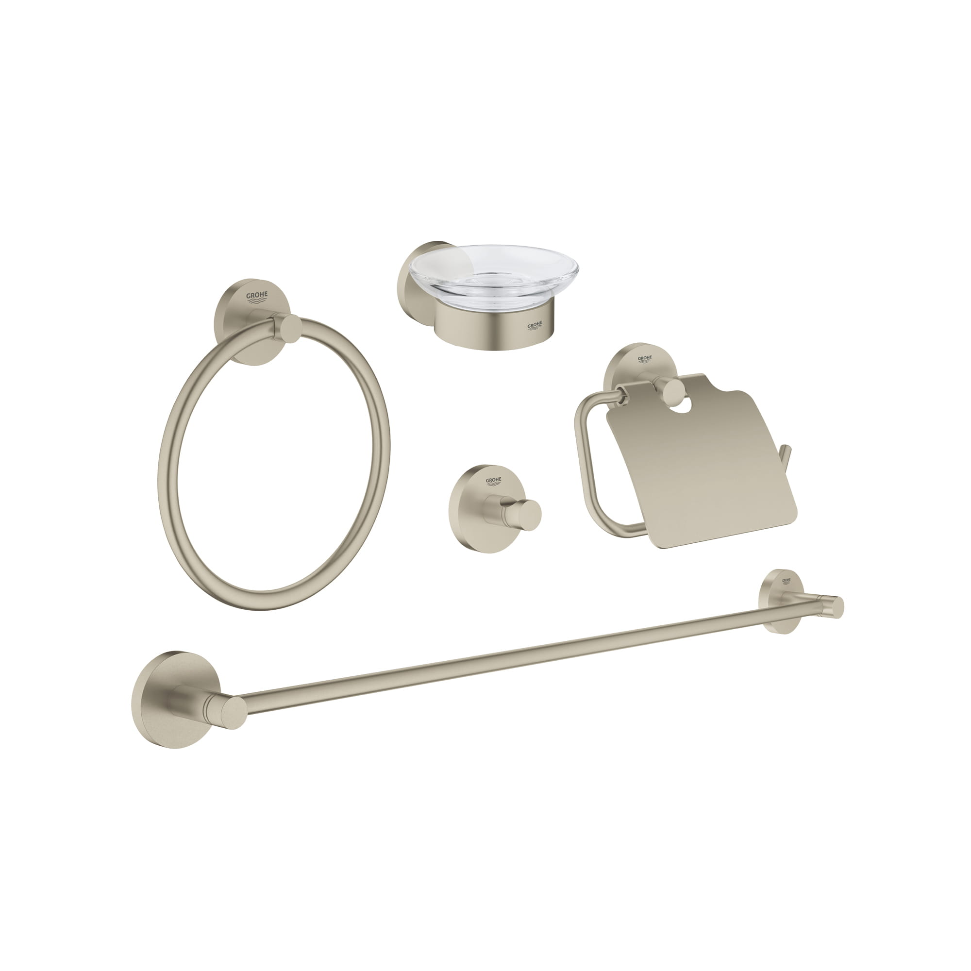 Essentials Ensemble pour salle de bain principale 5 en 1 GROHE BRUSHED NICKEL
