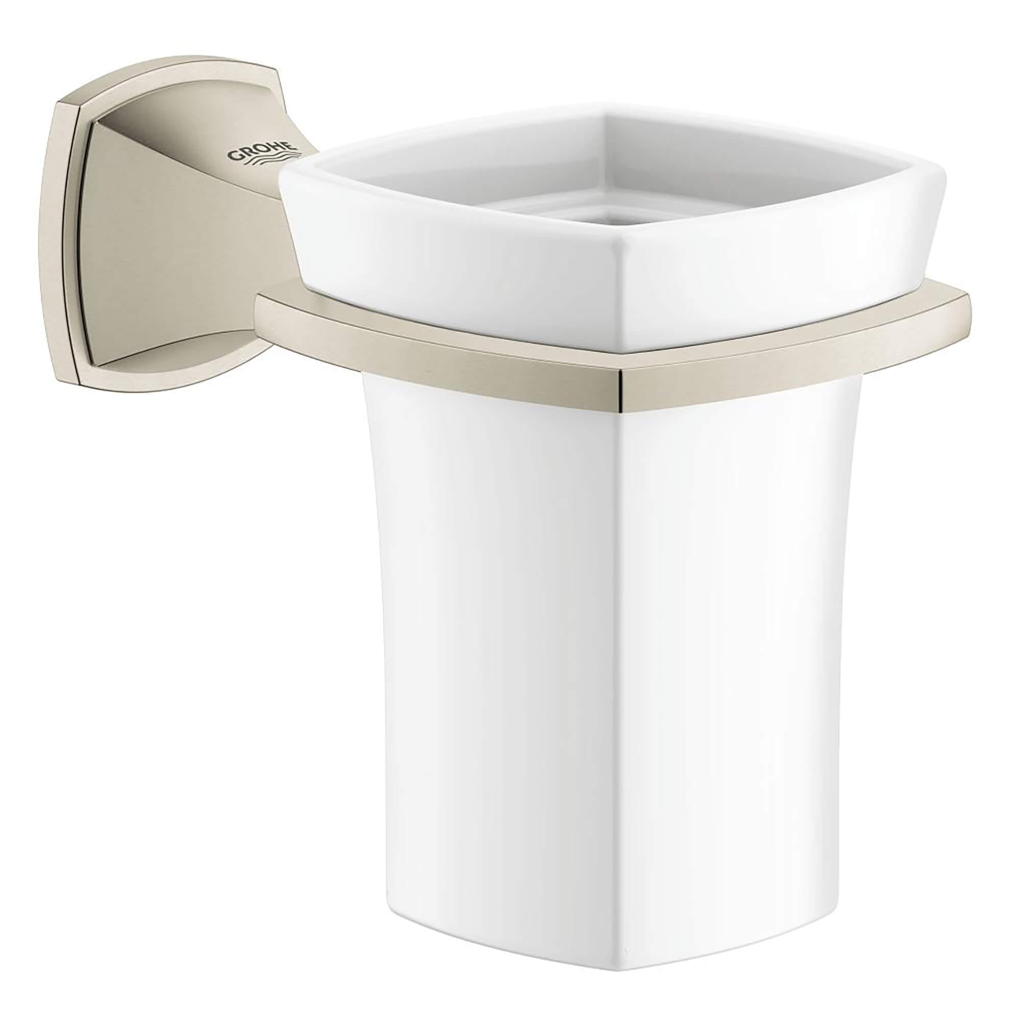 Ceramic Tumbler with Holder GROHE BRUSHED NICKEL