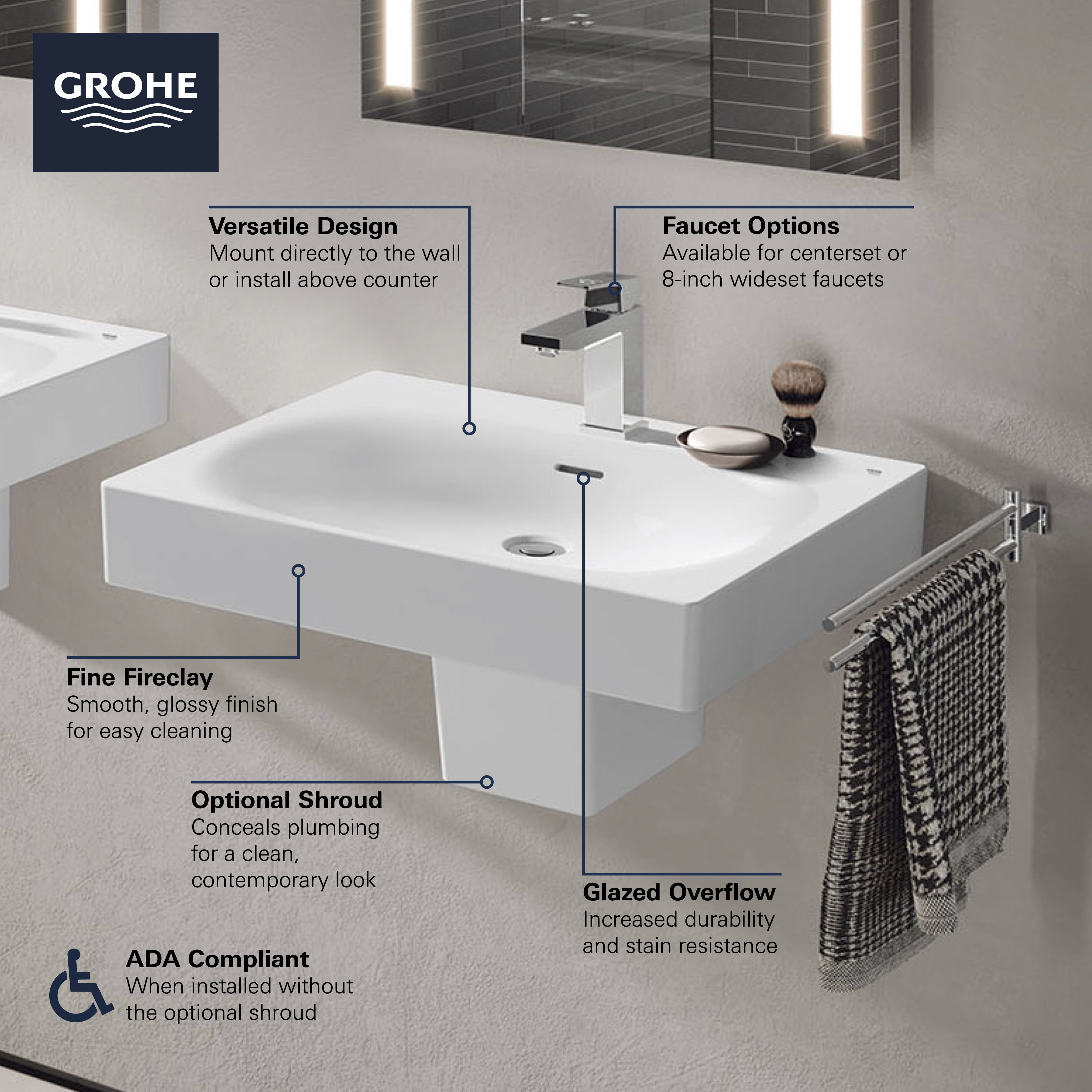 Image of: Eurocube Wall Mount 24 In Bathroom Sink 3 Hole