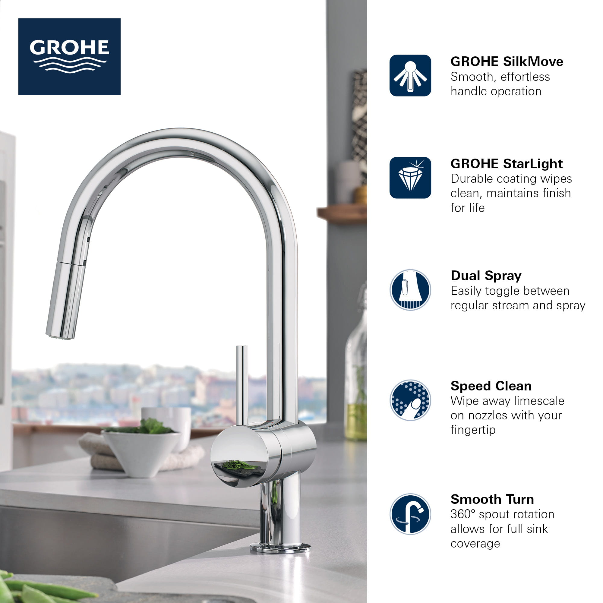 Minta Single Handle Pull Down Kitchen Faucet Dual Spray 1 75 Gpm