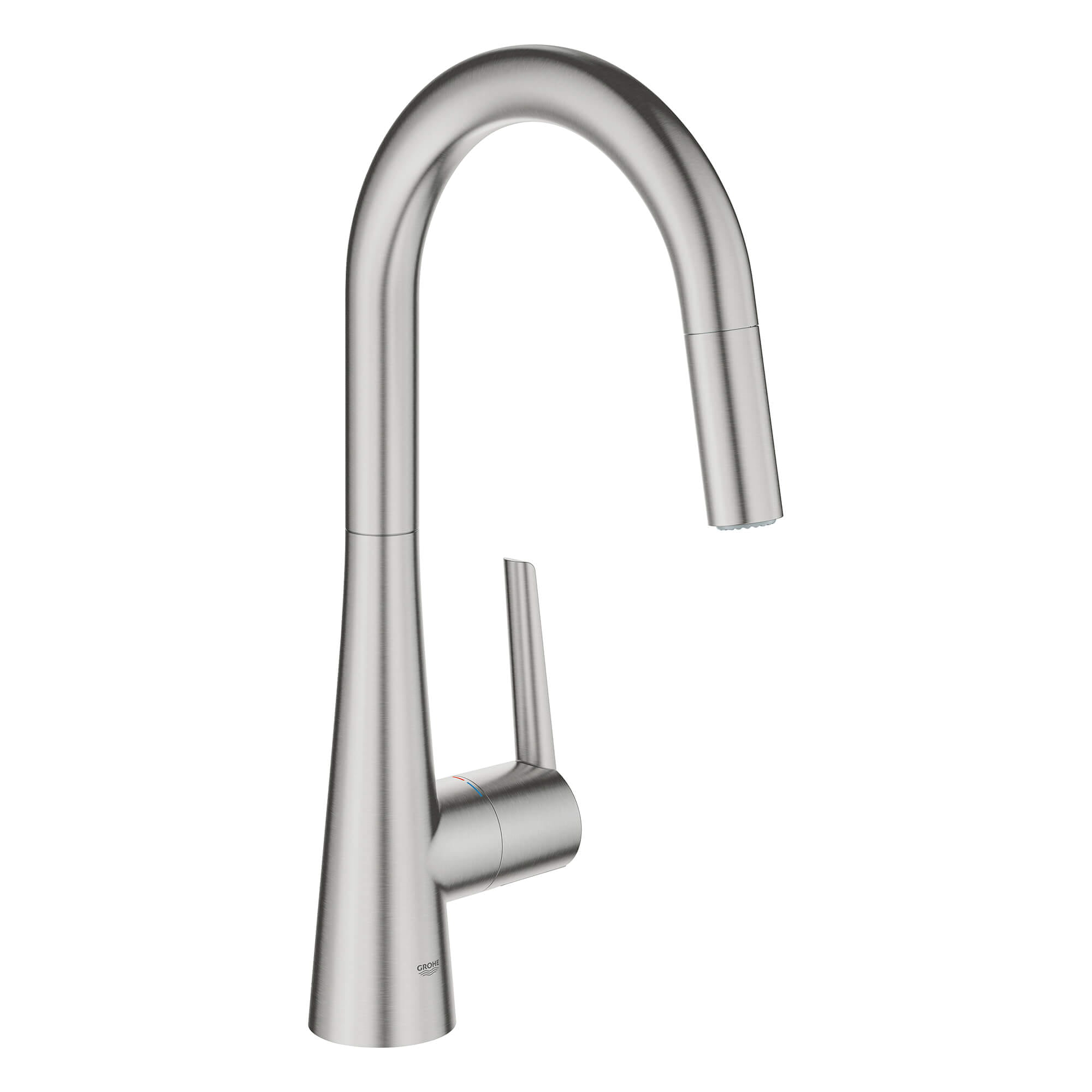 Single Handle Pull Down Kitchen Faucet Dual Spray 175 GPM GROHE SUPERSTEEL