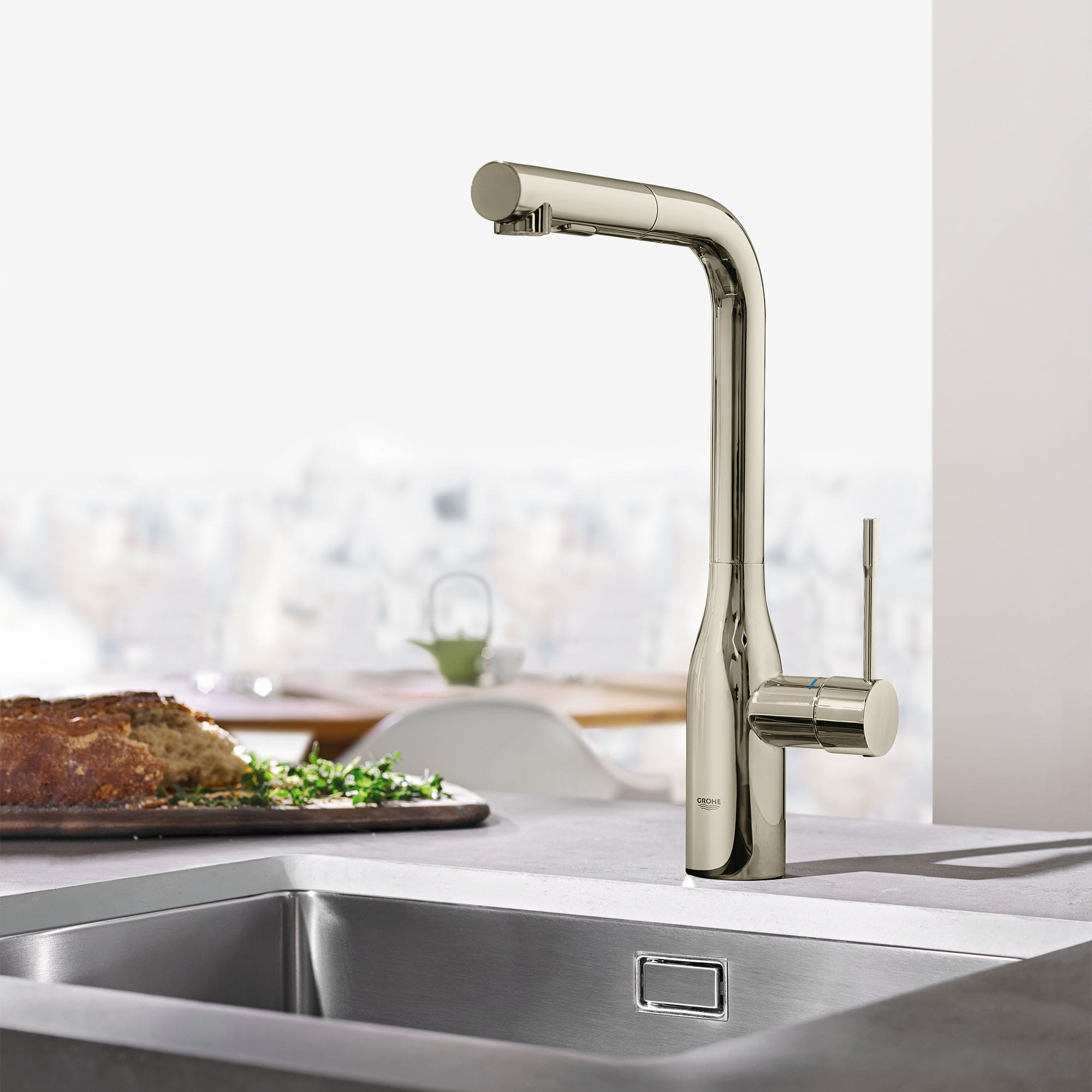 Single Handle Pull Out Kitchen Faucet Dual Spray 175 GPM GROHE POLISHED NICKEL