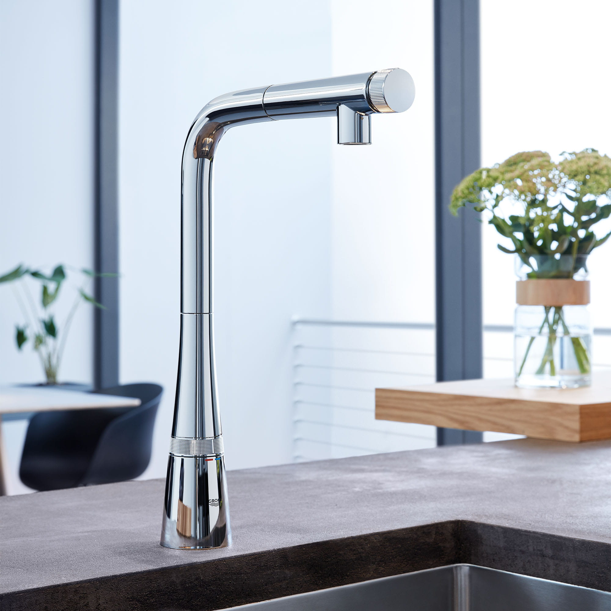Kitchen tap vase