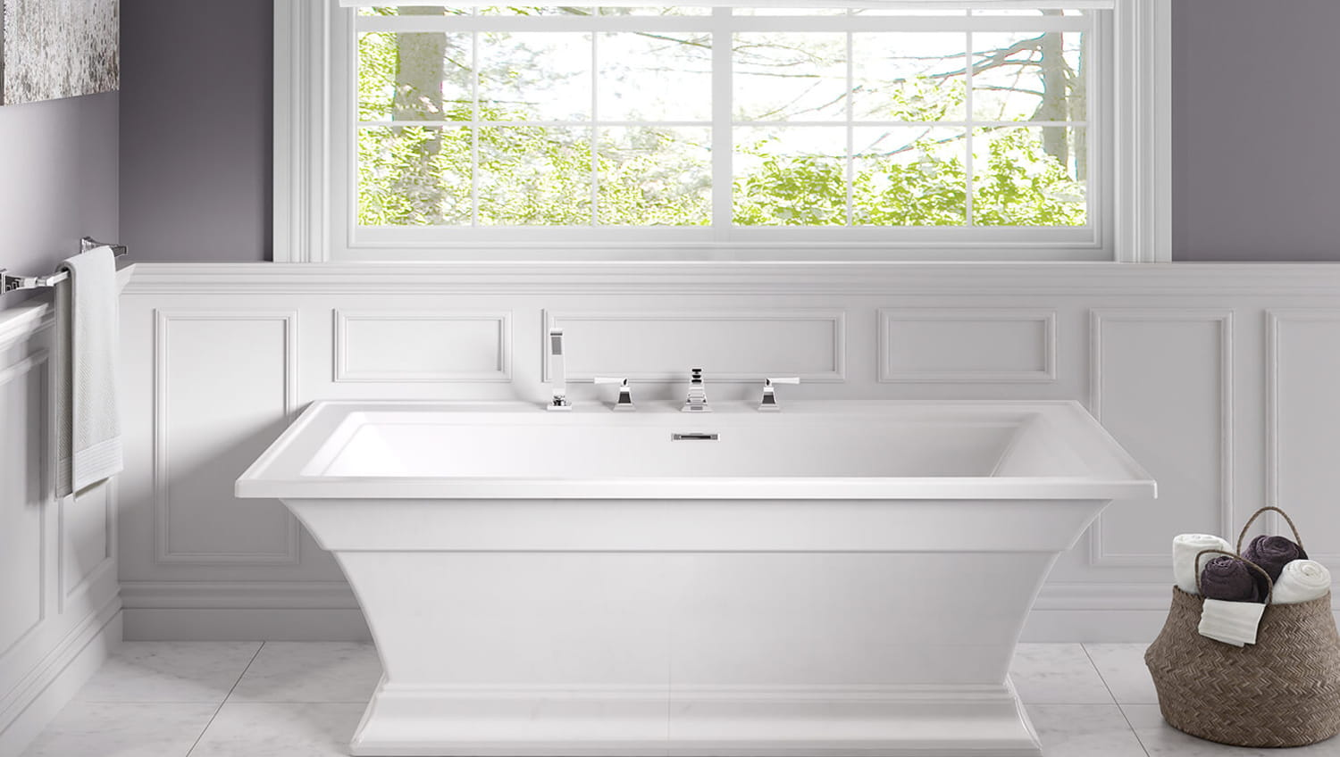 town square tub white with tub filler