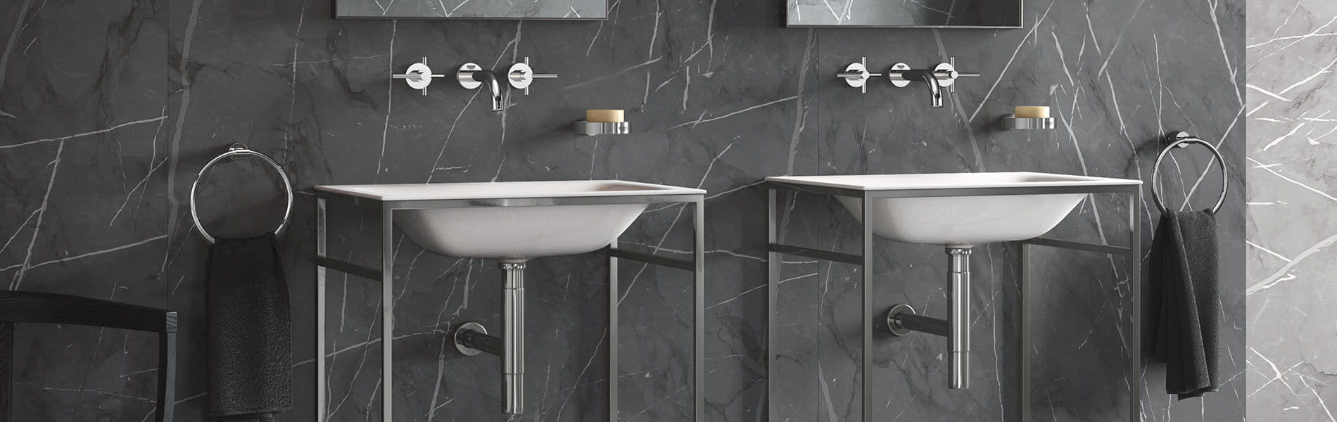 GROHE Modern Bathroom with Wall Mount Faucets