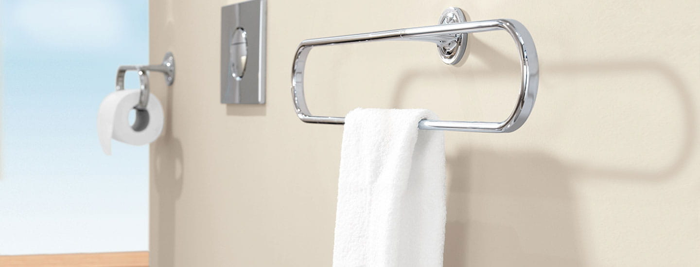 Image of a bathroom wall mounted towel ring.