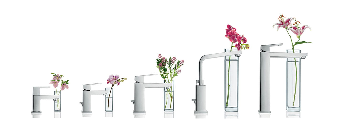 Range of grohe faucets from small to large.