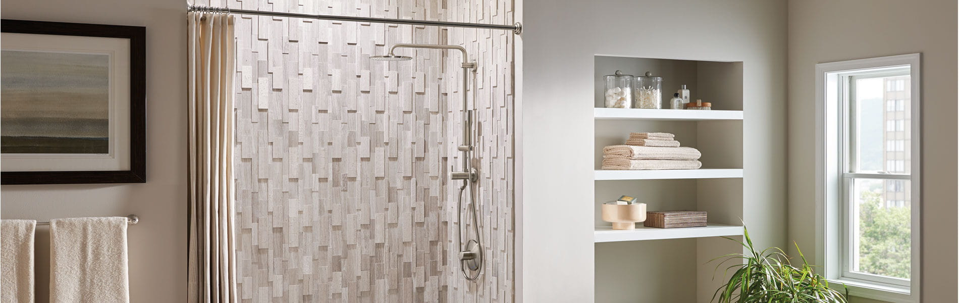 Euphoria cosmopolitan shower with a wooden panel shower tile background.