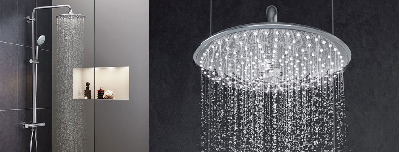 Euphoria douche avec une vue complète à côté d'un gros plan de la pomme de douche.