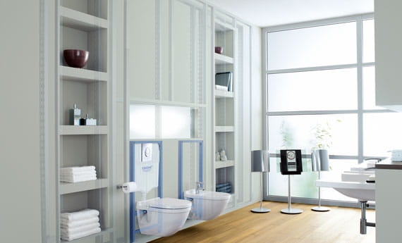 white themed bathroom with hardwood floors