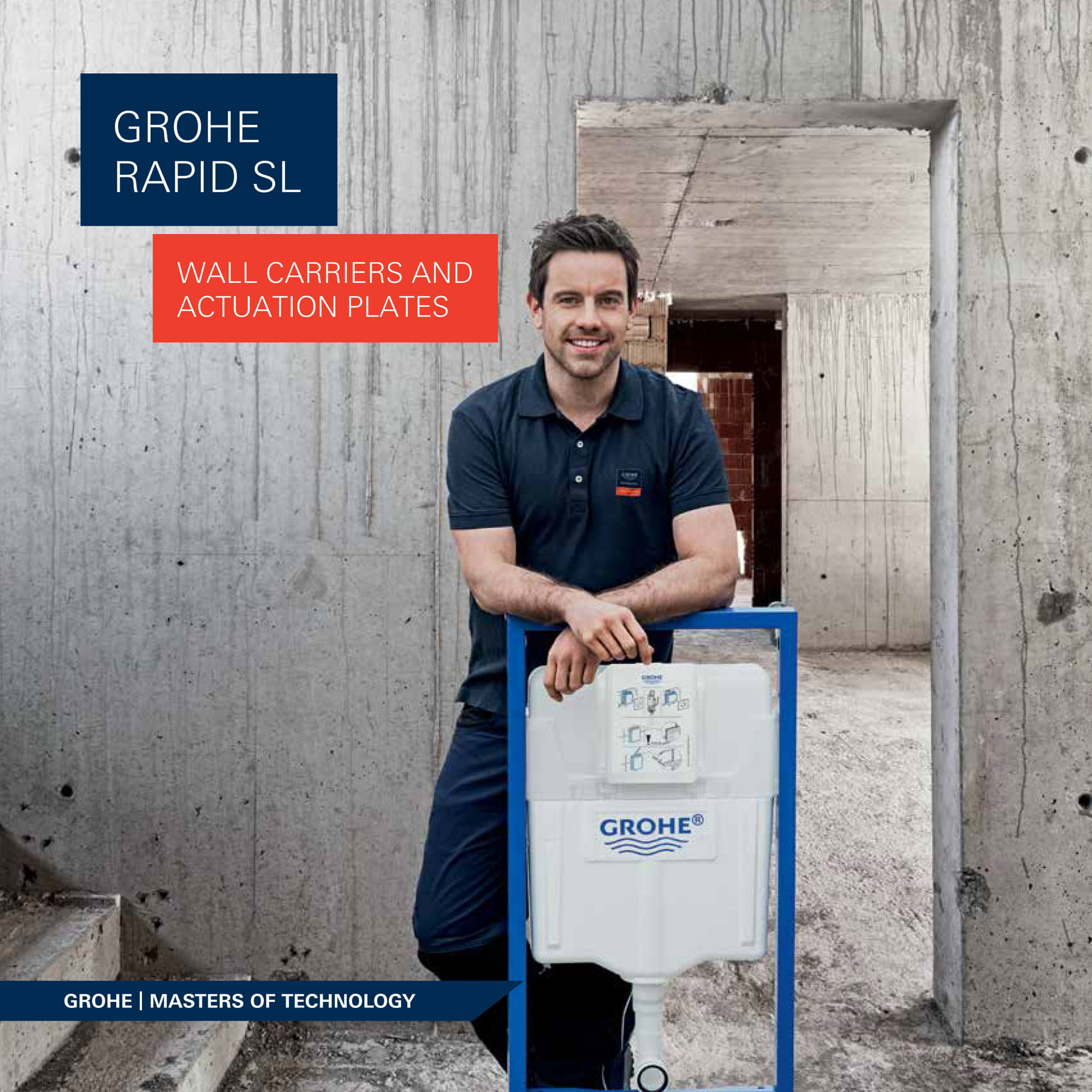 GROHE worker holding wall carrier