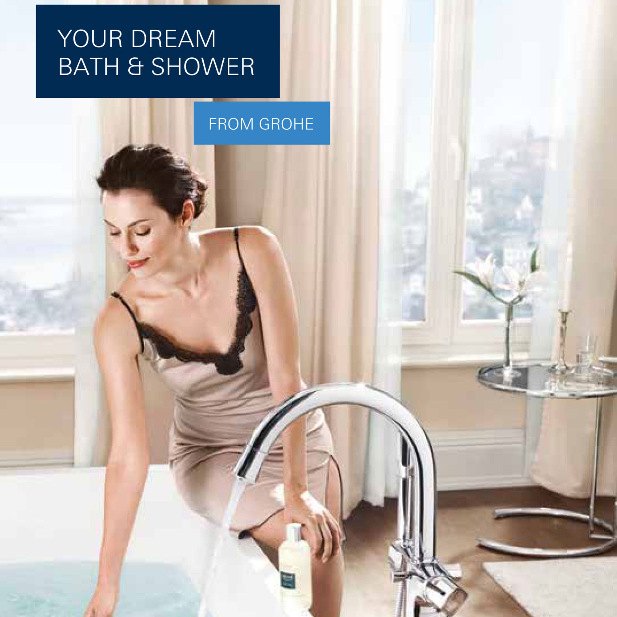 woman testing bathtub water with running faucet