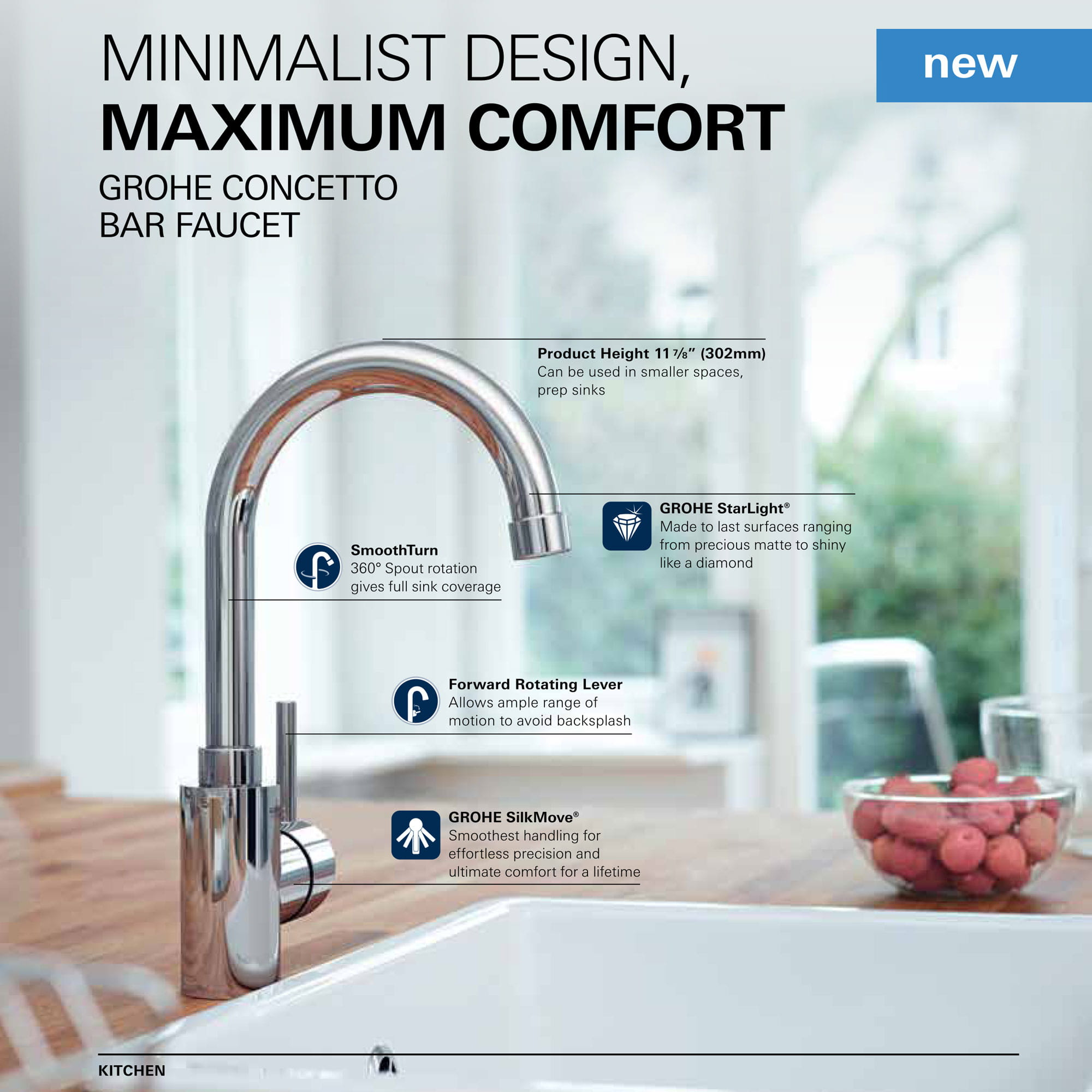 sink with faucet with text that includes specs, and cup of fruit on the side of table