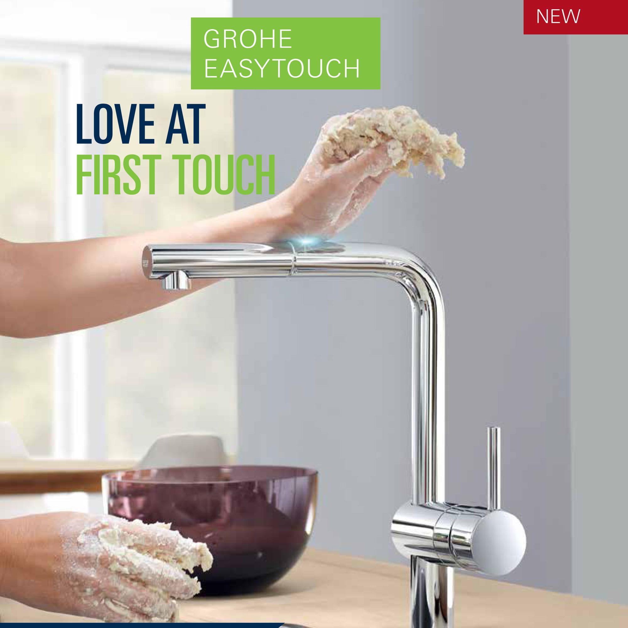 Faucet et mains sales à l'aide de la fuction Grohe Easy Touch