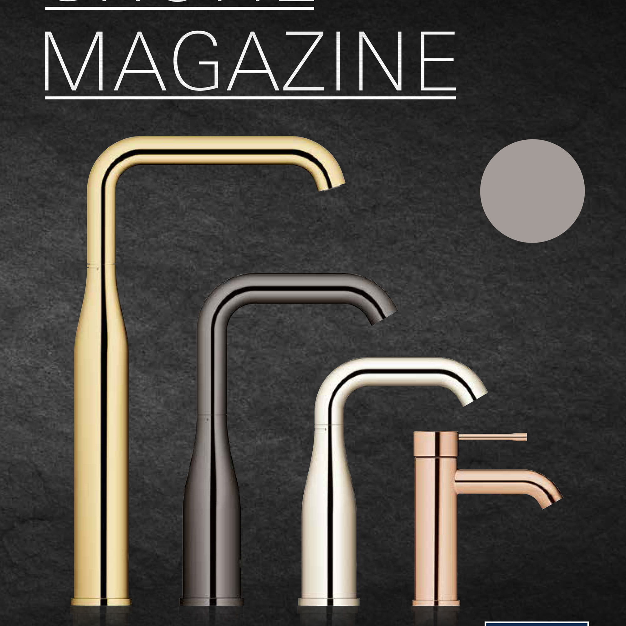 four faucets with different finishes