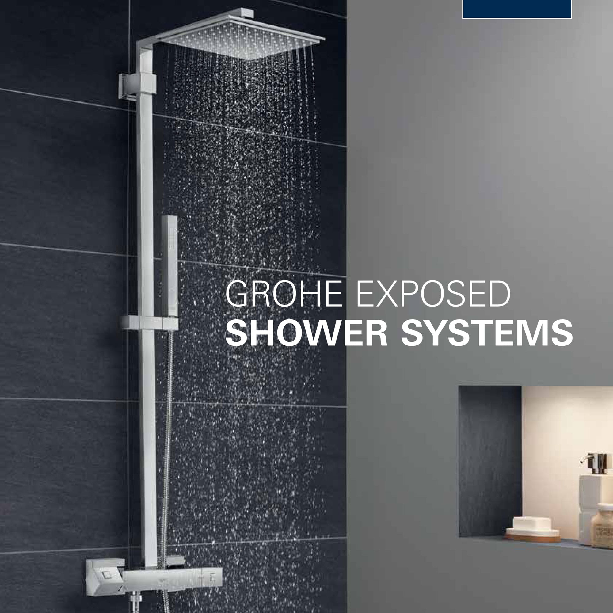 exposed shower running with grey theme