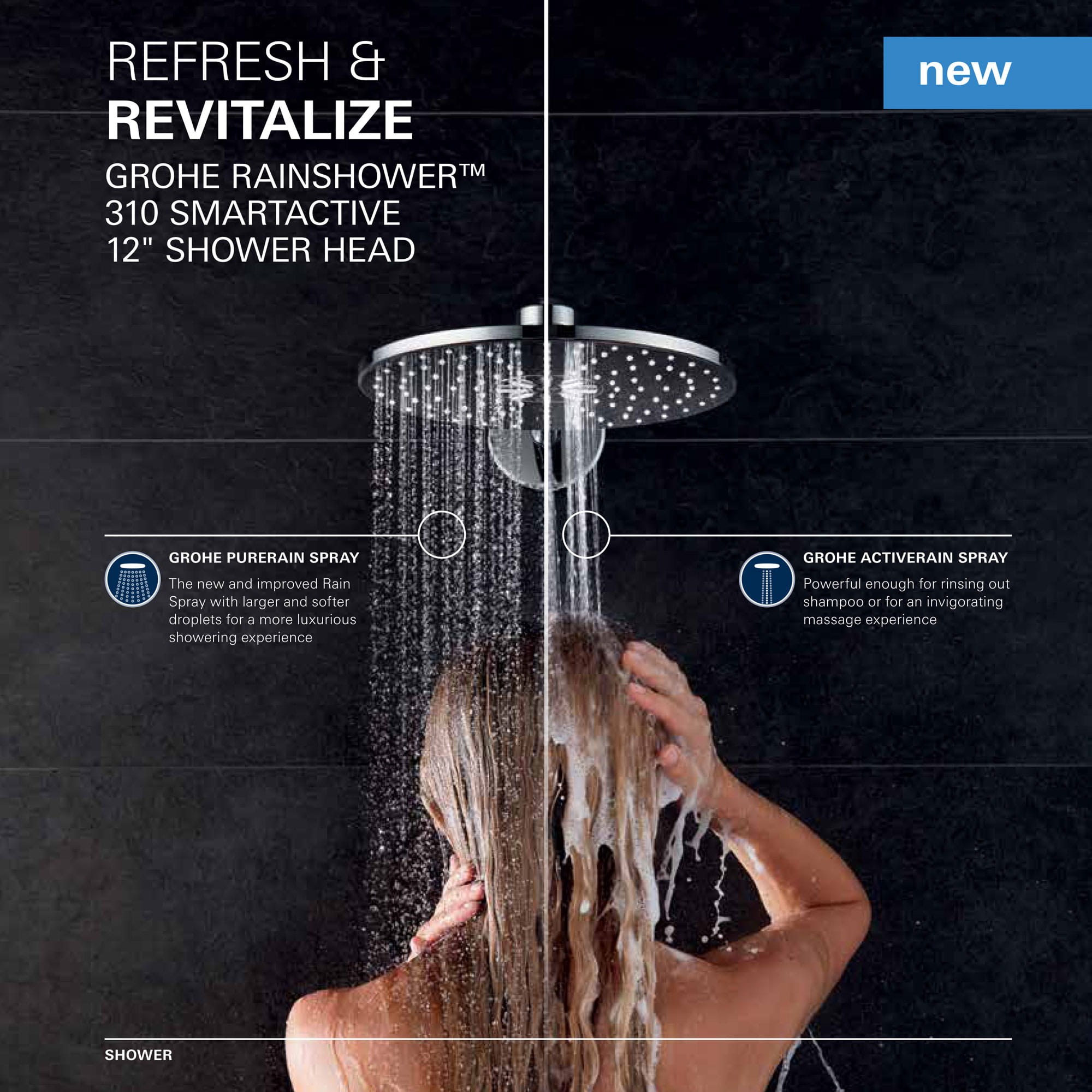woman using GROHE RAINSHOWER