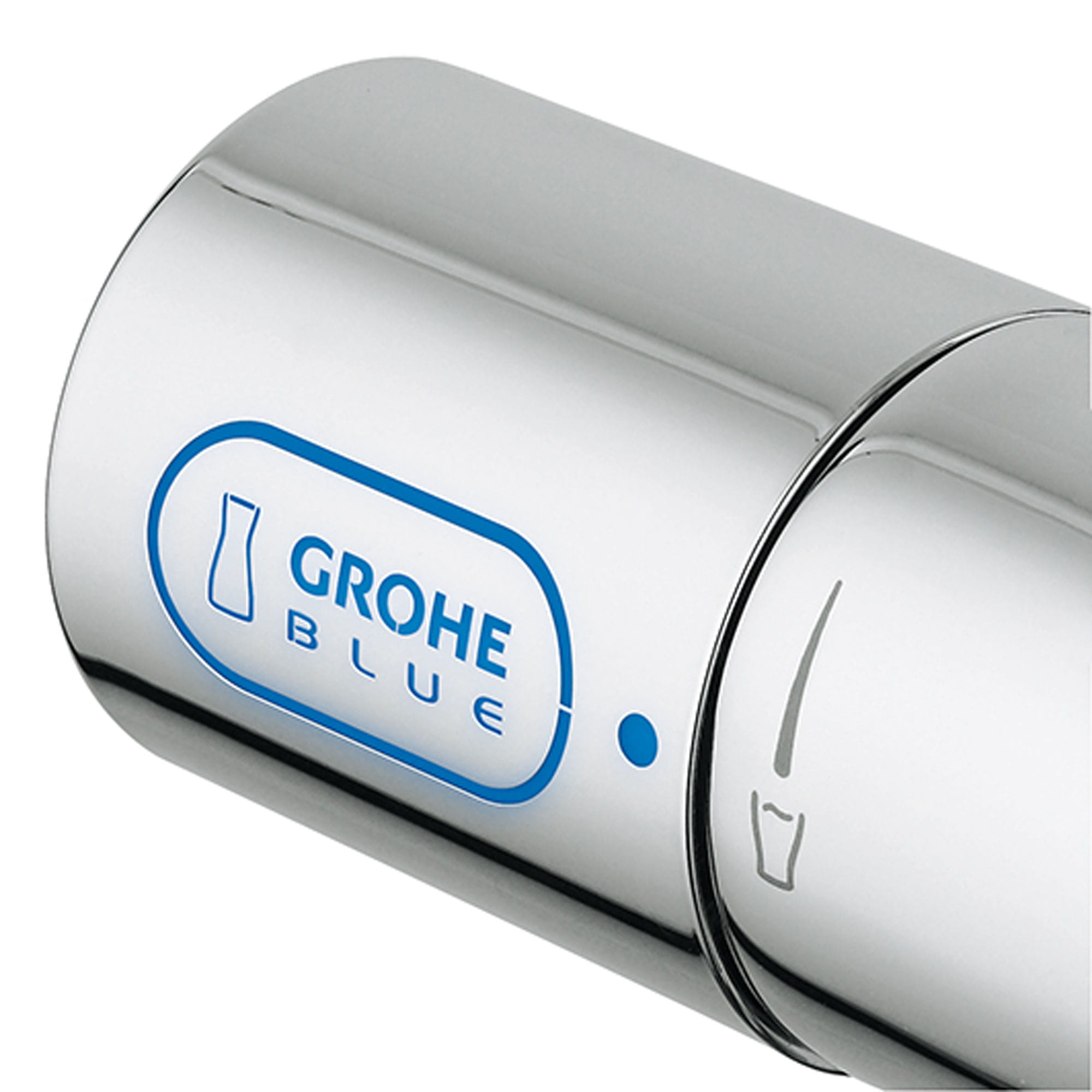 closeup on Grohe Blue turn knob