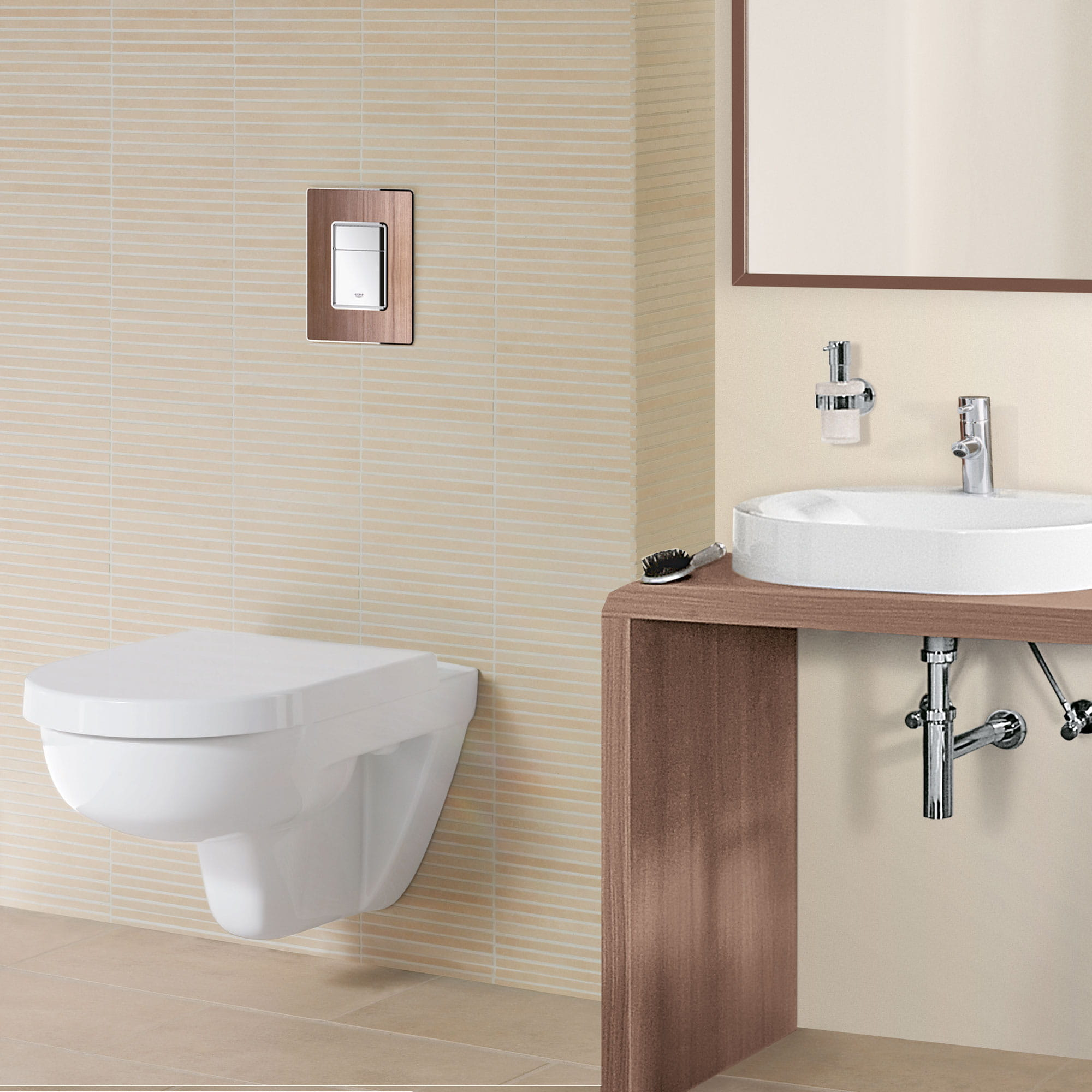 Bathroom with a white flush plate and sink.