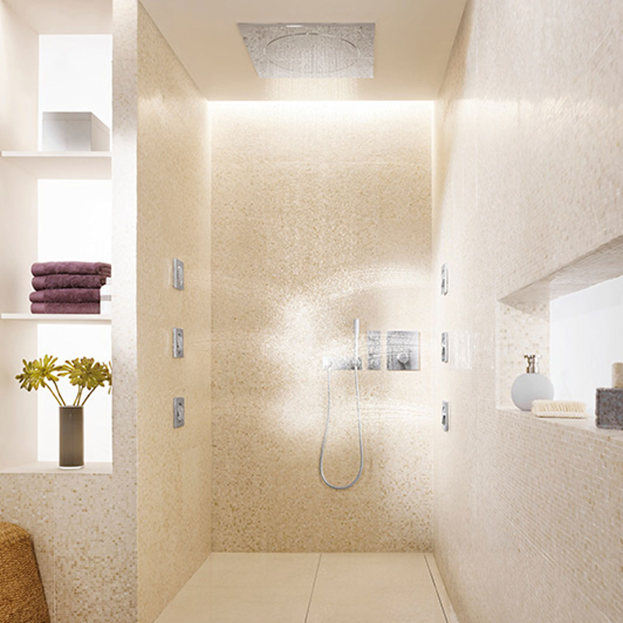 Bathroom shower with wall spray jets and rain showerhead