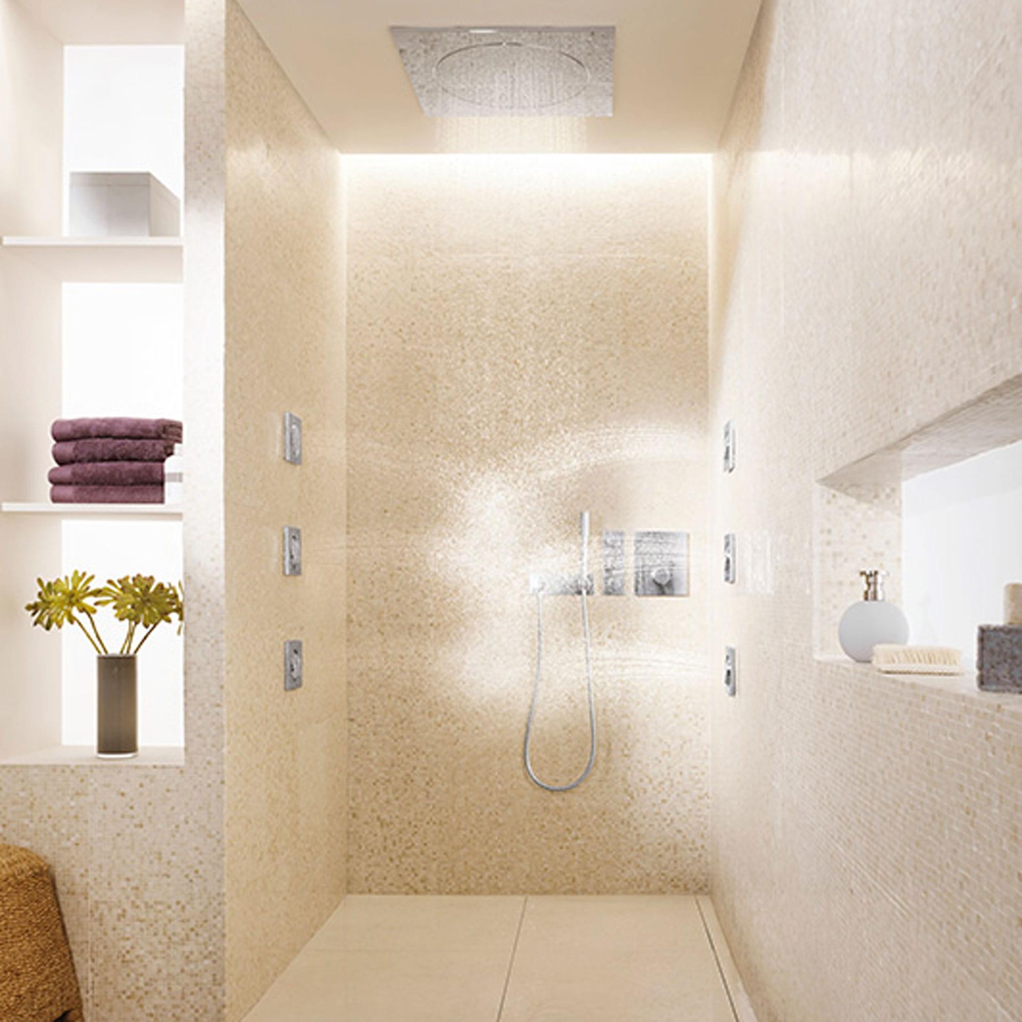 Bathroom shower with wall spray jets and rain showerhead