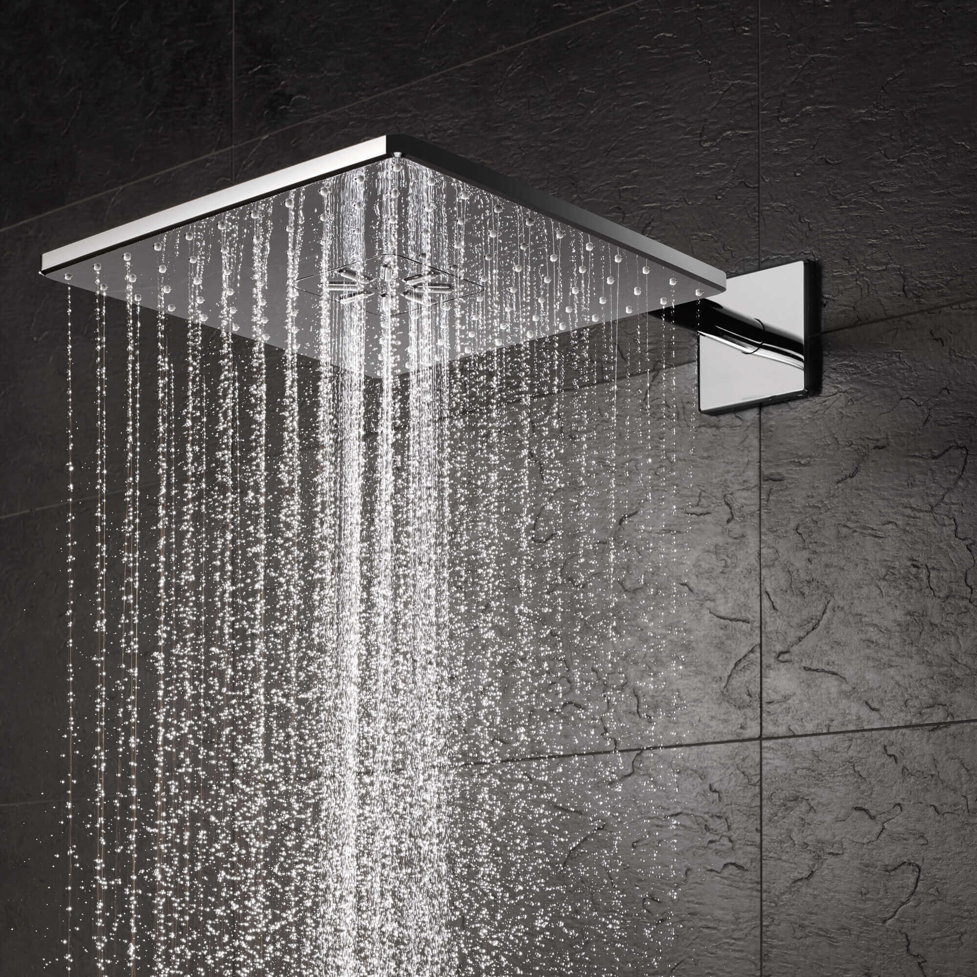 Square rainshower with running water