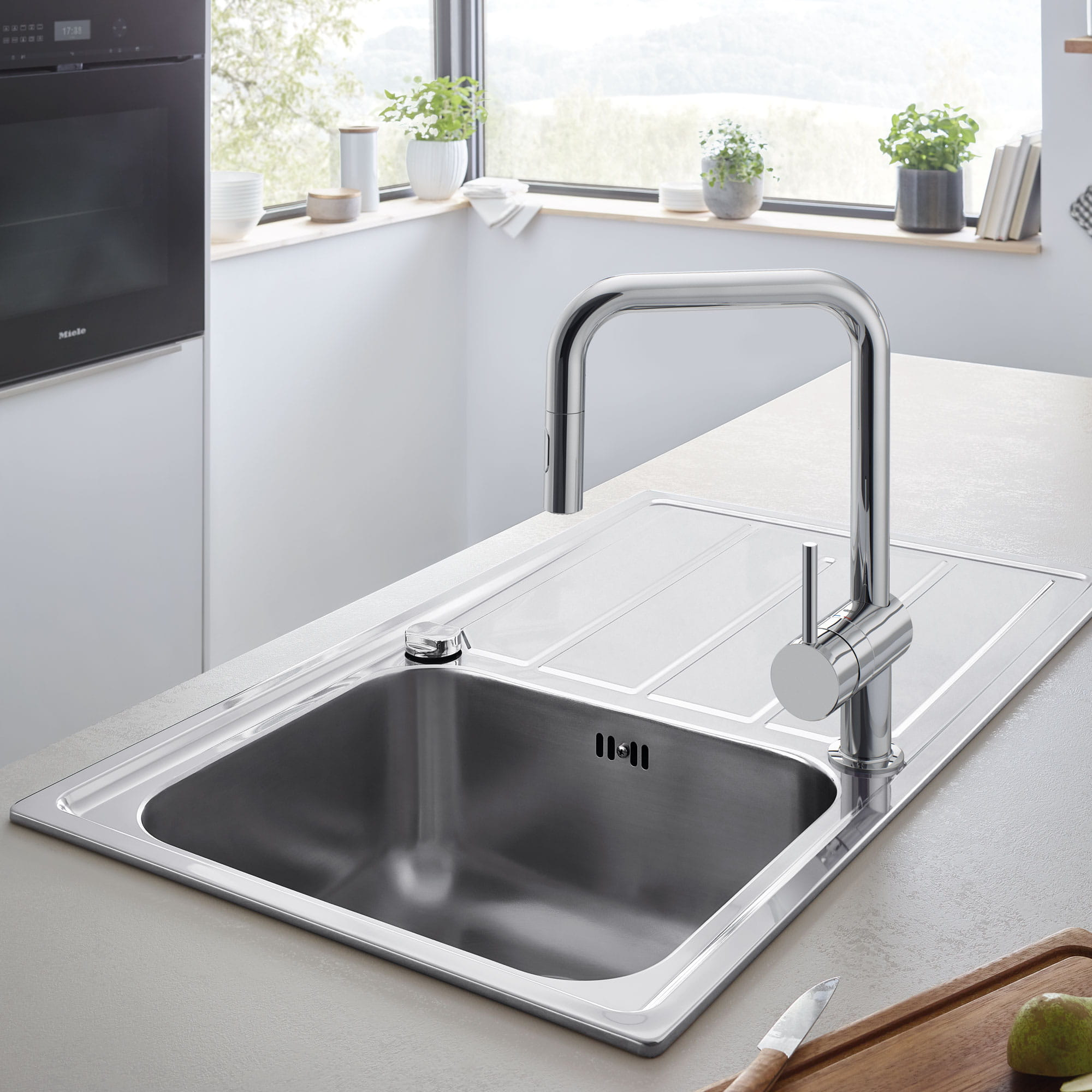 Minta Kitchen Faucet by GROHE in Kitchen Scene with Sink