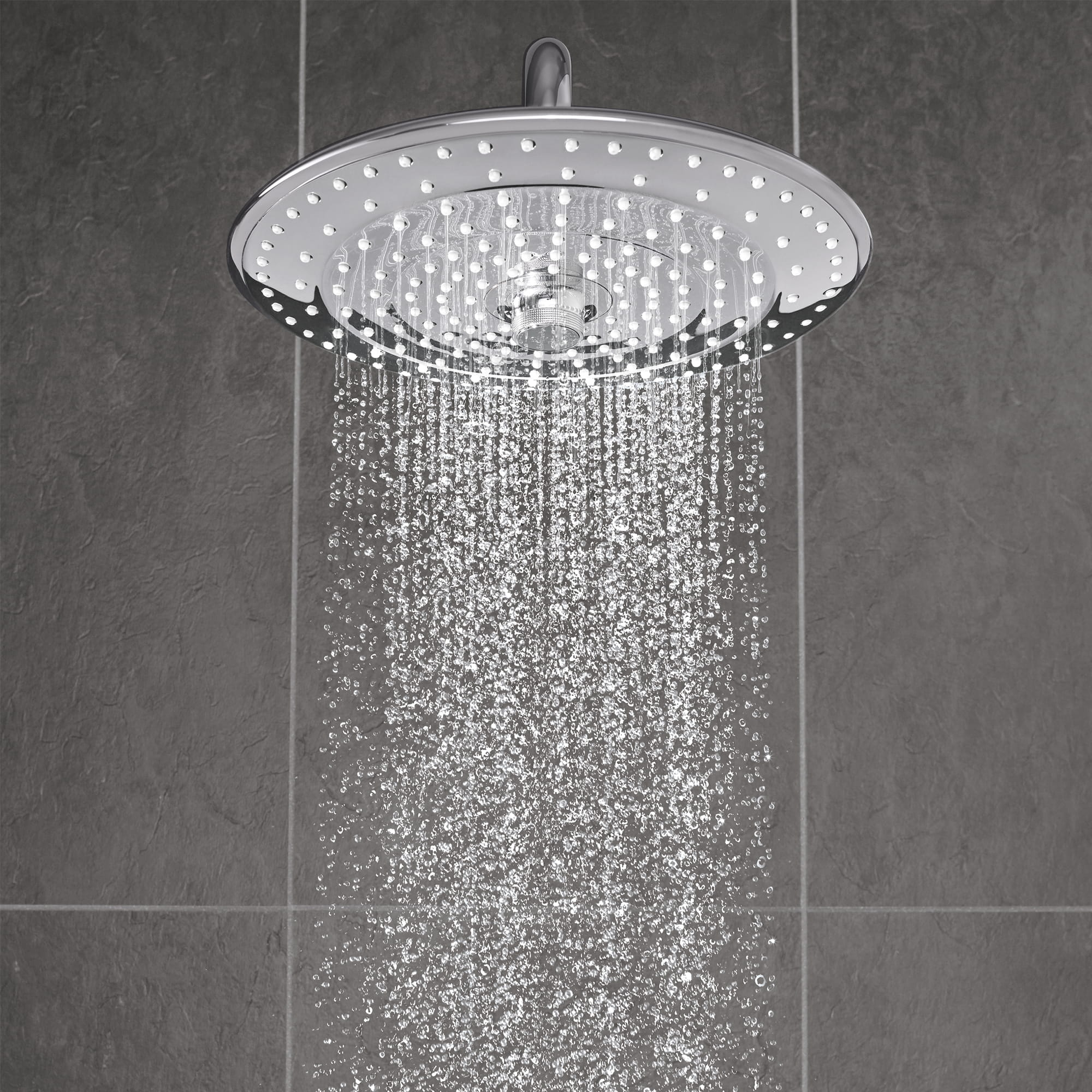 Shower head displaying Full face Rain spray.