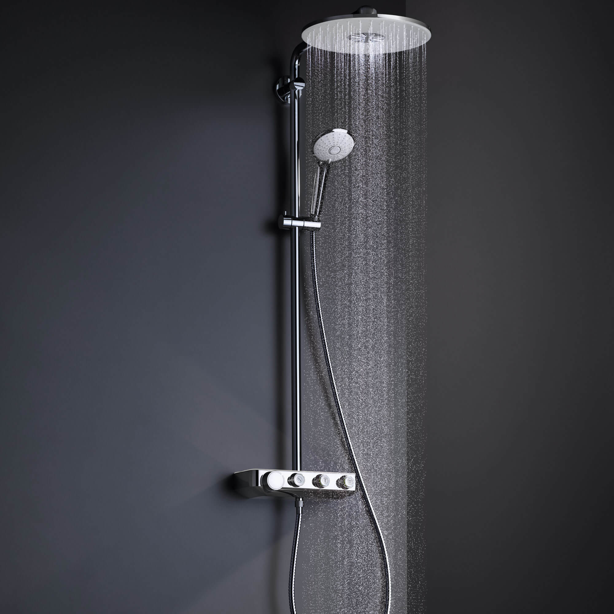 Euphoria SmartControl shower spraying water.