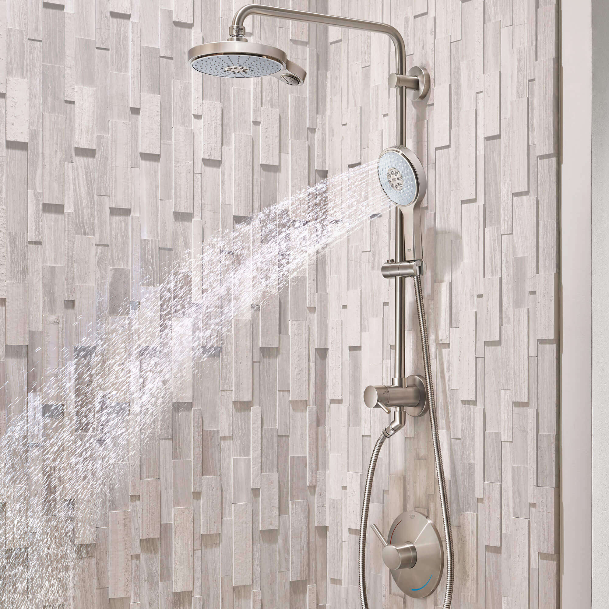 Retro-fit bathroom shower spouting water