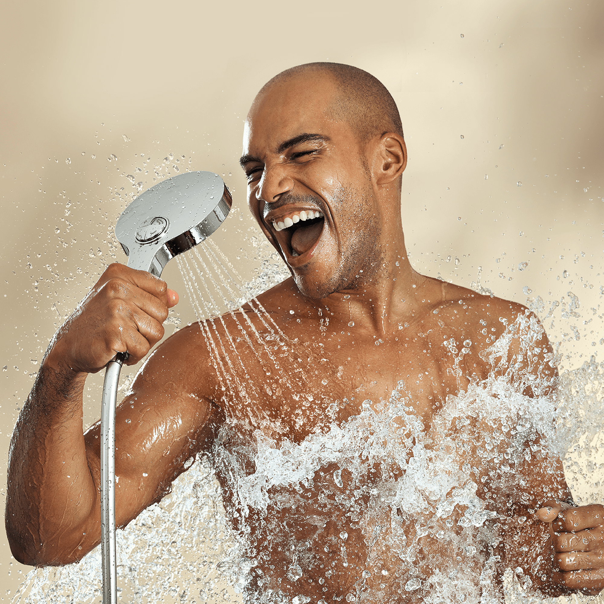 man showering using handheld showerhead