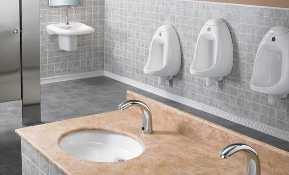 Commercial Bathroom with WaterSense Faucets
