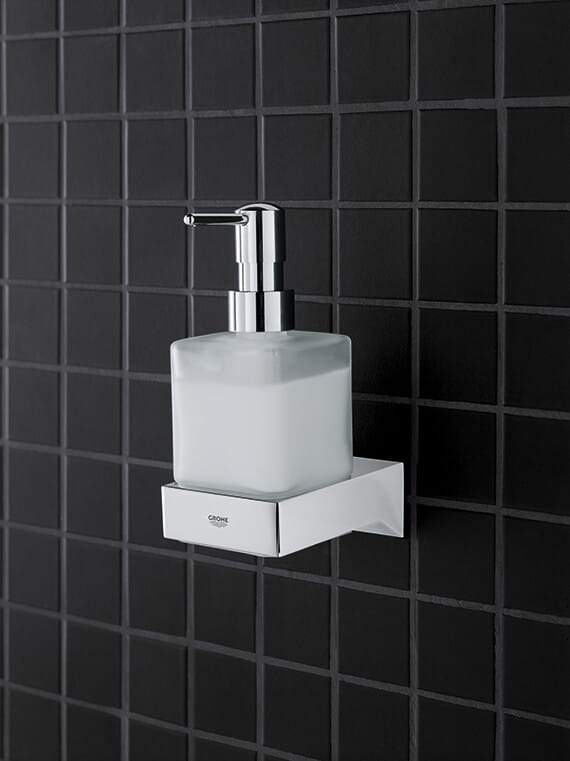 Selection cube soap holder mounted on a wall.