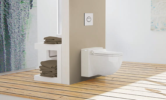 wall plate connected toilet