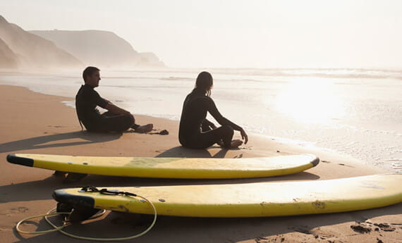 Beach with surfers